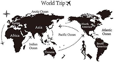Dosige Negro Mapa del Mundo Viaje Pegatinas de Ventana Pared Extraíble Pegatinas Vinilo Decal Murales para Cocina Sala de Estar Dormitorio Restaurante Baño: Amazon.es: Hogar