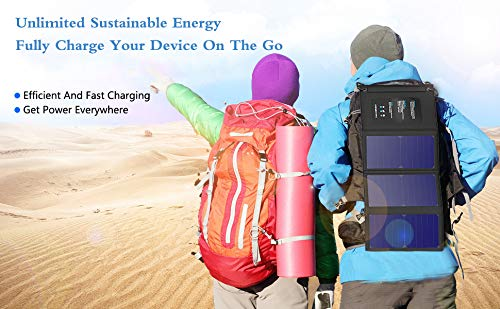 21W Portable Foldable Solar Panel Charger, Dual USB 2.4A Fast Solar Charger,Portable Outdoor Solar Power Charger for Camping,Hiking, Portable Charger for iPhone X 8,iPad,Android,Galaxy S8 Edge,More by WISSBLUE (Image #3)