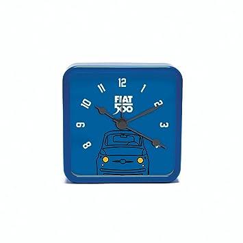Fiat 500 fior33 Reloj de Mesa Cuadrado, Metal, Azul, 8 x 8 x ...