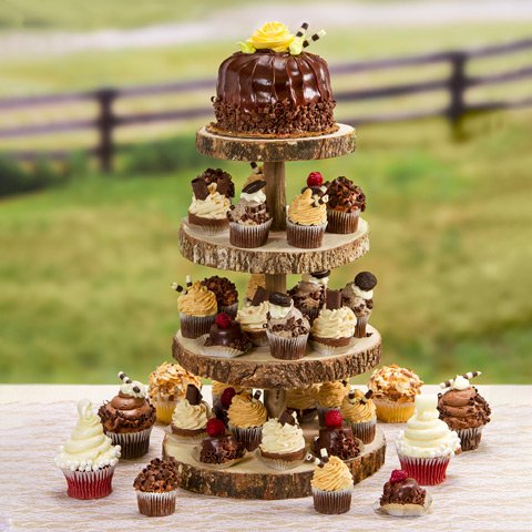 David Tutera Rustic Cupcake Stand: Tiered, Wood, 12 X 16.25 Inches For Wedding Or Party Decor, 1 Pc