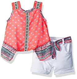 Little Lass Baby Girls\' 2pc French Terry Short Set, Coral, 12M