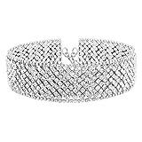Croozy Womens Luxury Rhinestone Choker Girls Crystal Choker Necklace Bride Collar Party Choker Necklace (Silver)