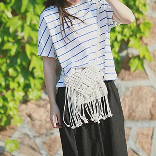 AiSi Damen Mädchen geflochten Strandtasche Quaste Umhängetasche Schultertasche kleine Abendtasche elegante Handtasche, mit Reißverschluss, weiß Weiß
