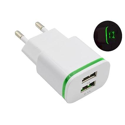 zolimx 2.0A/1.0A Cargador de Pared Mini USB de Doble Puerto LED luz Carga Rápida Adaptador Alimentación (Blanco)