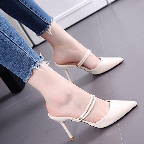 Zapatillas de moda con poco profundo Boca de punta fina de cuero femeninos de tacón alto zapatillas All-Partido de Verano simple Beige