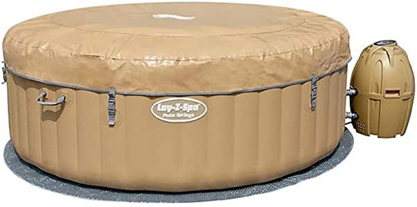 Bestway SaluSpa 77 x 28 Inch 4 to 6 Person Outdoor Inflatable Portable Palm Springs AirJet Hot Tub Pool Spa with Cover, Tan