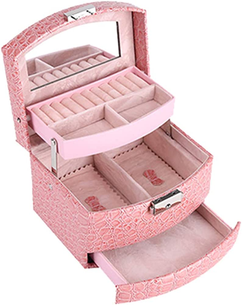 Deykhang Women 3-Layer Jewelry Box Makeup Organizer Mirror Storage Container Case Box