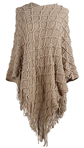 QZUnique Women's Sweater Cape Pullover Shawl Ruffle Trim Knit Poncho-Like Wrap - Layered Look Ruffle Trim
