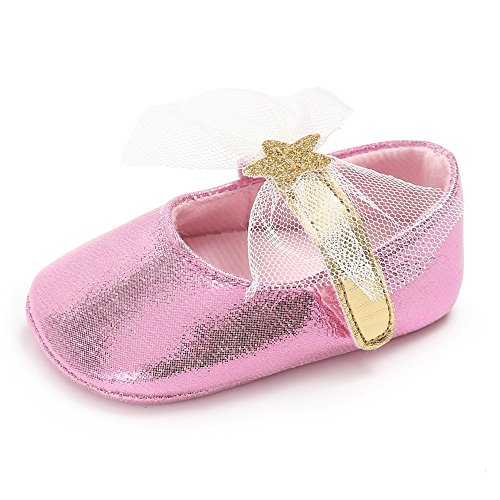 Pink Canvas Mary Jane (Isbasic Baby Girls Knit Soft Sole Toddler Mary Jane Sneakers Casual Canvas Shoes (6-12 Months, PU Pink))