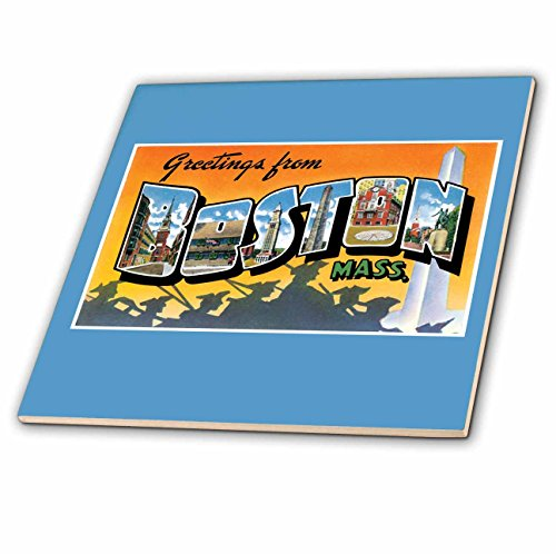 3dRose ct_170229_1 Greetings from Boston Mass. Scenic Postcard Reproduction-Ceramic Tile, 4-Inch ()