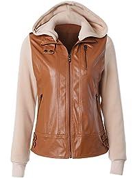 Clearence!!!Women Jacket Women Hoodie Leather Jacket Overcoat Lapel Removable Zip Coat