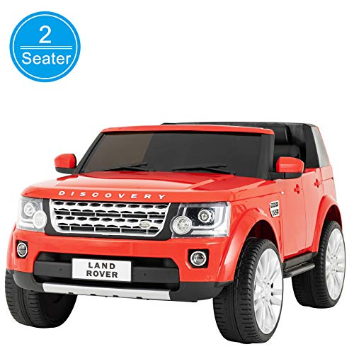 (Uenjoy 2 Seater 12V Kids Ride On Car Licensed Land Rover Discovery Electric Cars for Kids with RC Remote Control, LED Lights, Storage Room, Music, Red )