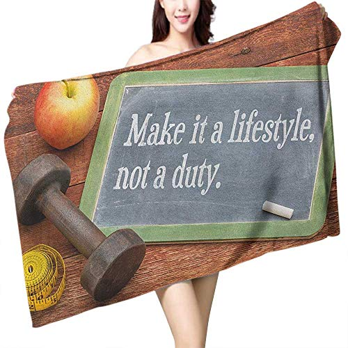 homecoco Soft Bath Towel Fitness Make It a Lifestyle Not a Duty Chalkboard Apple Dumbbell Tape Measure on Wood Print W10 xL39 Suitable for bathrooms, Beaches, Parties