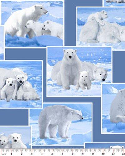 Polar Bears White on Blue Winter Snow Wild Arctic Cotton Fabric Print by the Yard (5765-55)