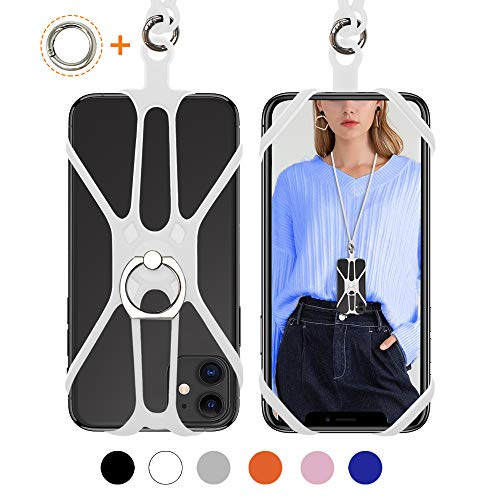 Doormoon Universal Cell Phone Lanyard Rotation Detachable Silicone Strap Holder with Ring Stand Universal for Smartphone iPhone 8 7 6S Plus,Samsung Galaxy Note 4.0-6.5 inch Orange