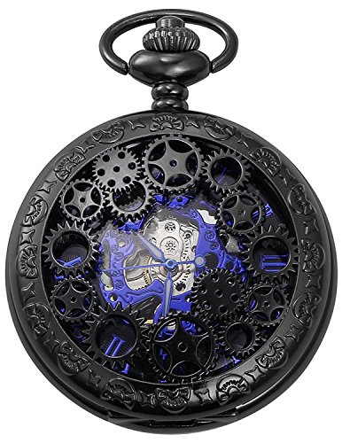 Carrie Hughes Vintage Black Gear Steampunk Skeleton Mechanical Pocket Watch with Chain Gift (Black Gear)