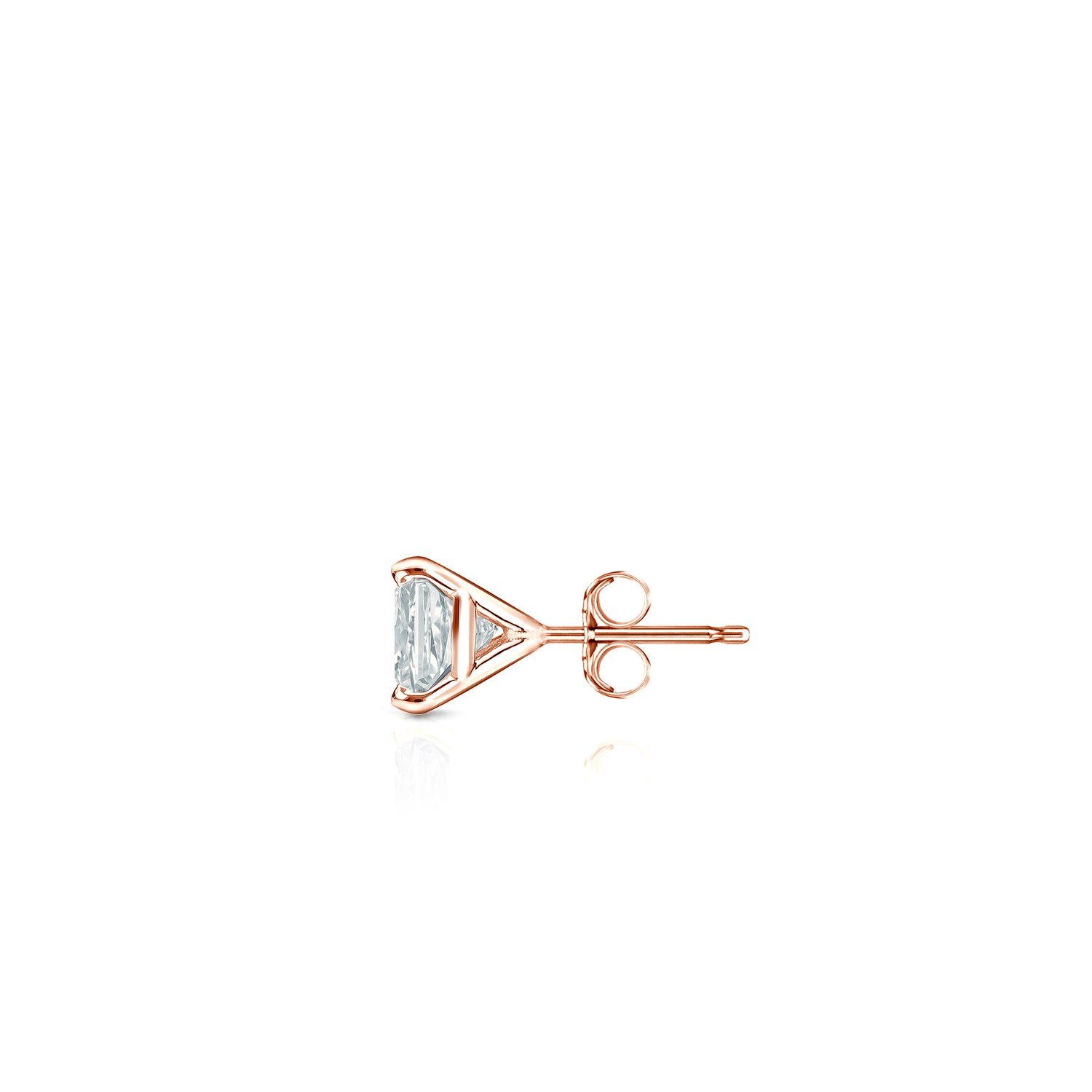 14k Rose Gold Men Princess Diamond Simulant CZ SINGLE STUD Earring 4Prong 1//8-1ct,Excellent Quality