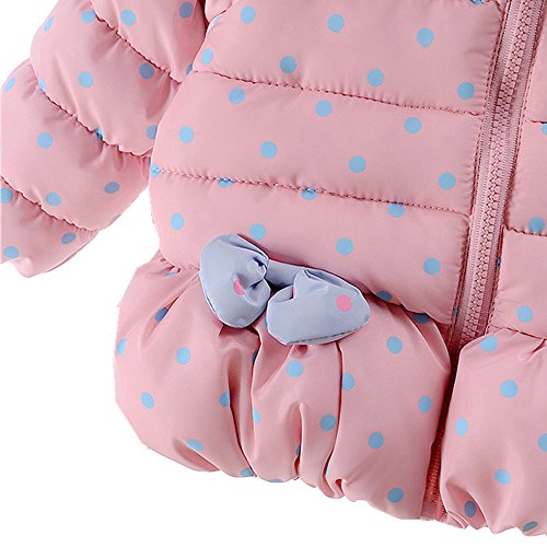 Ding-dong Baby Kid Girl Winter Hooded Bowknot Dot Coat(Navy,6-12M)