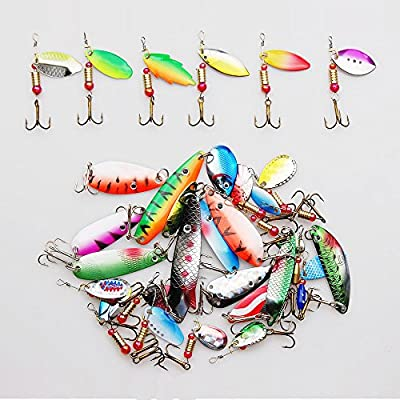 Shaddock Fishing ® 30 Pack Assorted Colorful Feather Metal Casting Fishing Spinner Baits Spoon Fishing Lures Fish Hooks Tackle for Northern Pike, Salmon, Walleye, and Largemouth Bass