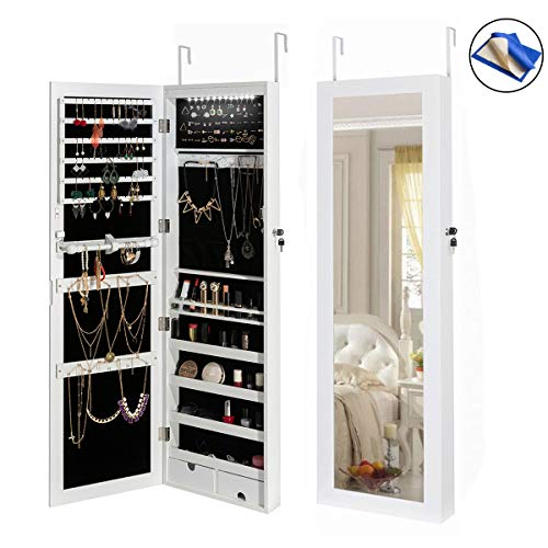 HollyHOME Jewelry Armoires LEDs Jewelry Cabinet Lockable Wall Door Mounted Organizer Storage with Mirror,White by HollyHOME