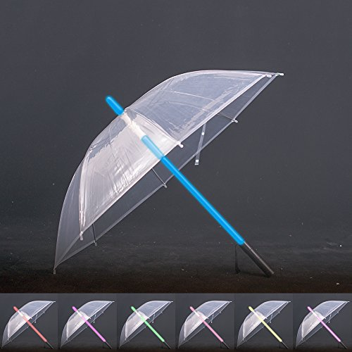 artSew Transparent Lightsaber Umbrella FlashLight in the Easy Grip Handle Golf Umbrellas Sword Light up Changing on the Shaft Built in Torch at Bottom (Transparent No - You Solar The Eclipse Can Watch With Sunglasses