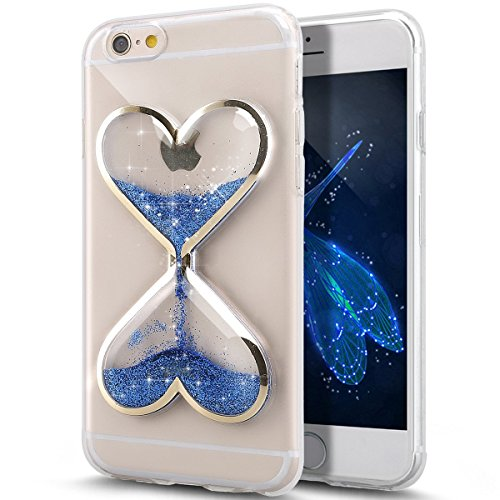 Urberry Iphone 4/4S Case, Shinning Liquid Sparkle Love Heart Case, Creative Design Flowing Liquid Floating Luxury Bling Glitter Sparkle Hard Case for iPhone 4s/4 with a Screen Protector