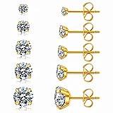 5 Pairs Stud Earrings Set, Hypoallergenic Cubic