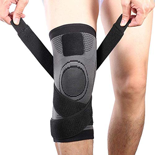 Vitoki Knee Brace, Compression Knee Sleeve with Adjustable Strap for Pain Relief, Meniscus Tear, Arthritis, ACL, MCL, Quick Recovery - Knee Support for Running, Basketball, Crossfit (Single) (Strap Adjustable Quick)