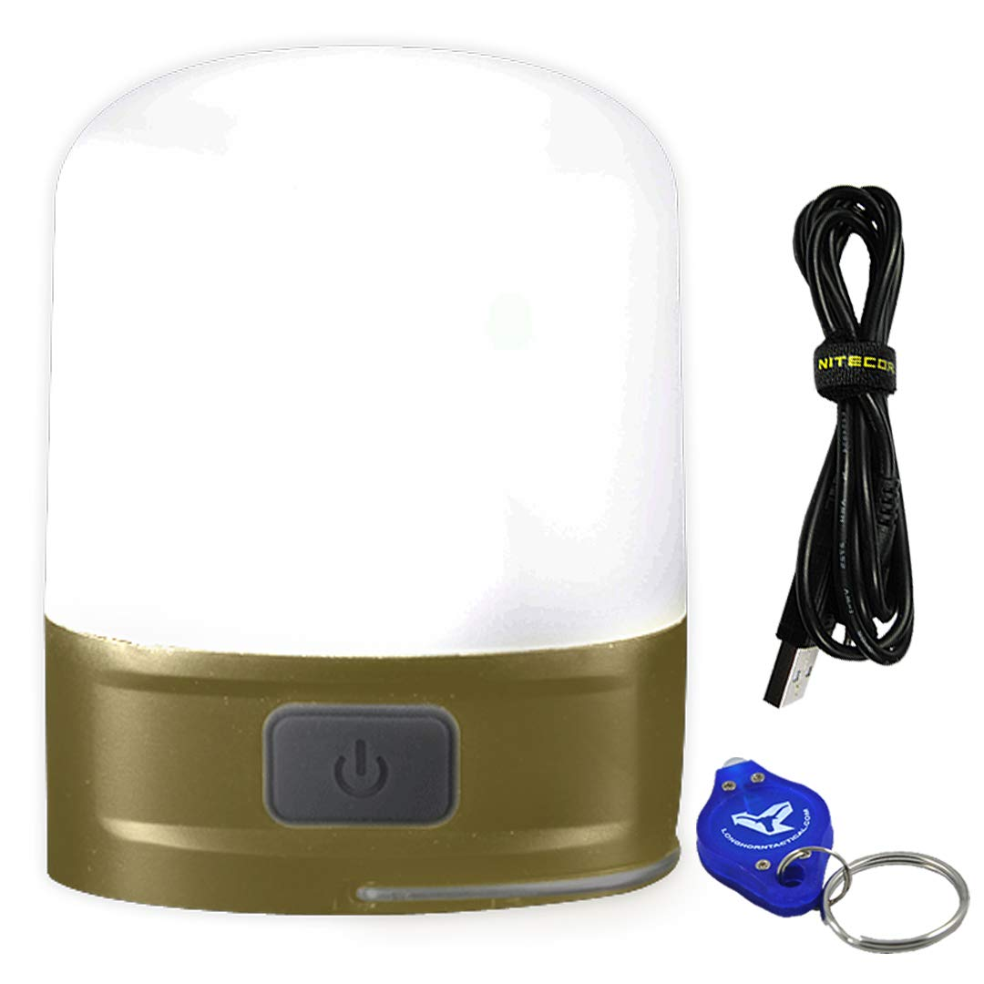 Nitecore LR10 250 Lumen USB Rechargeable Ultra Compact Multi-Purpose Lantern w/Built-in Battery Ultra Includes Lumen Tactical Backup Emergency Keychain Light - Available in 4 Styles (Olive) by Nitecore