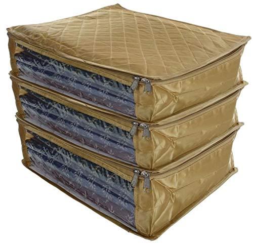 Fashion Bizz Saree Cover Set of 3 Large Golden Premium Satin/Wardrobe Organizer/Clothes Bag