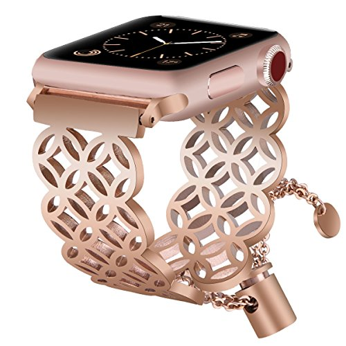 (for Apple Watch Band 38mm Women Feminine, VIGOSS Luxury Copper Rose Gold Apple Watch Bands Jewelry Cuff Edition Hollow Bracelet Stainless Steel Bangle Strap for iWatch Series 3/2/1,Sport Window grille)