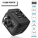 Universal Travel Adapter International Power Adapter All in One 4 USB Ports High Speed Charger AC Wall Outlet Plugs Worldwide