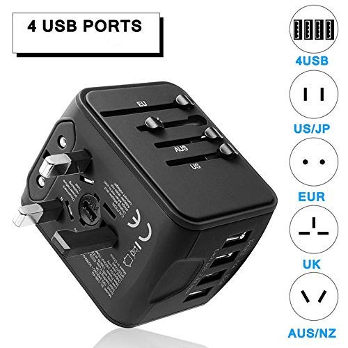 Universal Travel Adapter International Power Adapter All in One 4 USB Ports High Speed Charger AC Wall Outlet Plugs Worldwide for Asia Europe America UK AU US Over 170 Countries (Black)