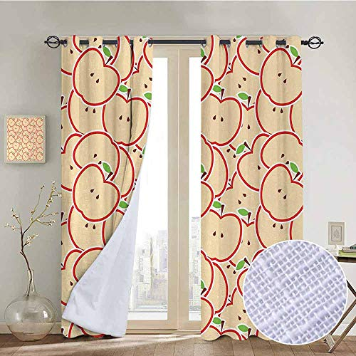 NUOMANAN Kitchen Curtains Apple,Healthy Refreshing Fruit from Orchard Abstract Cartoon Drawing Organic,Apple Green Beige Red,Rod Pocket Drapes Thermal Insulated Panels Home décor 100