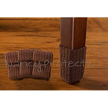 Small/Chocolate Brown With Rubberized Grips/Chair Leg Floor Protectors