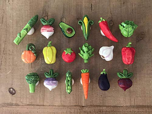 Vegetable Knobs, Vegetable Drawer Pulls, Kitchen Cabinet Pulls, Kitchen Hardware, Corn, Tomato, Pepper, Broccoli, Beet, Eggplant, Asparagus, Carrot, Peas, Garlic, Lettuce, Artichoke ()