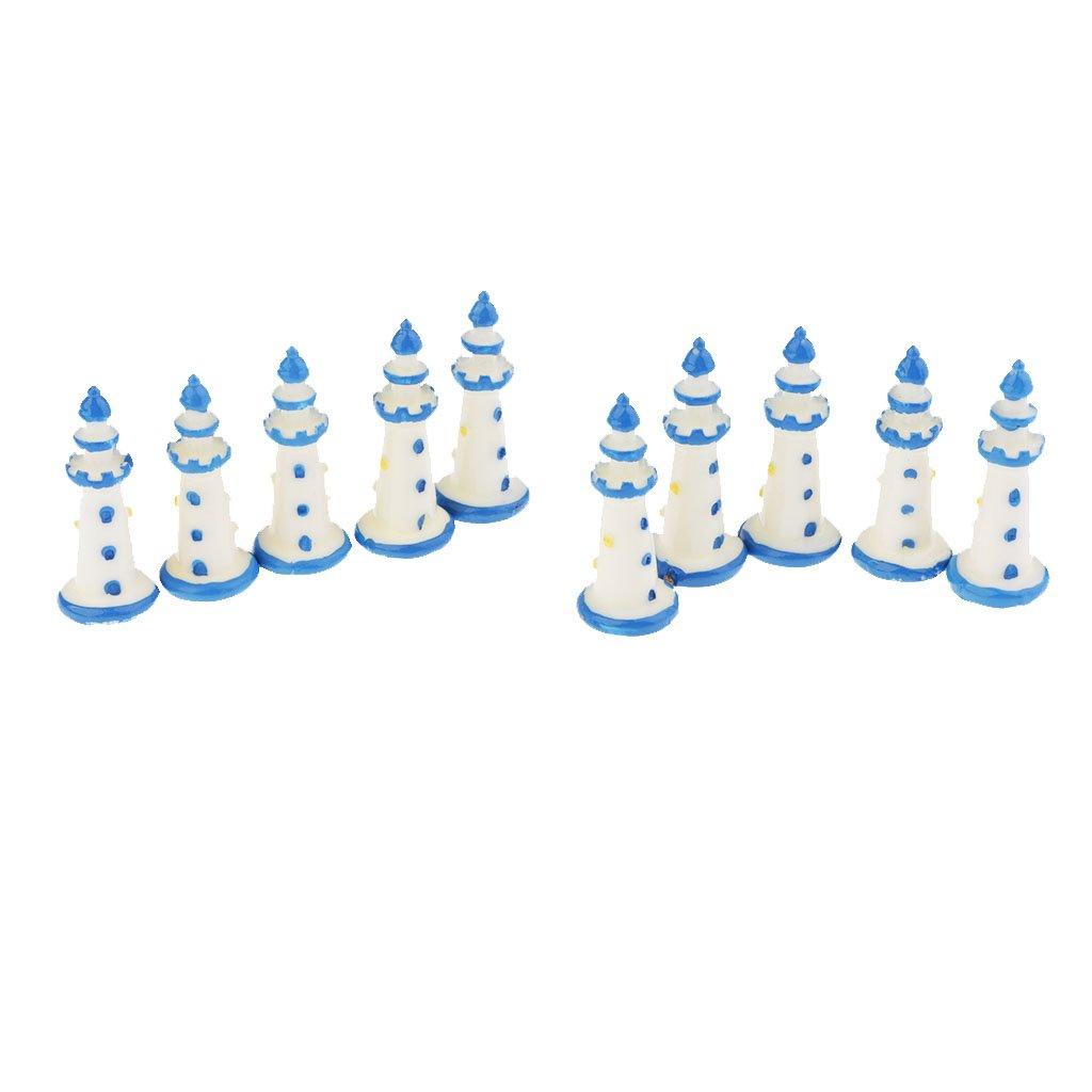 D DOLITY Resin Miniature Lighthouse Figurine White Micro Landscape Lighthouse Decor