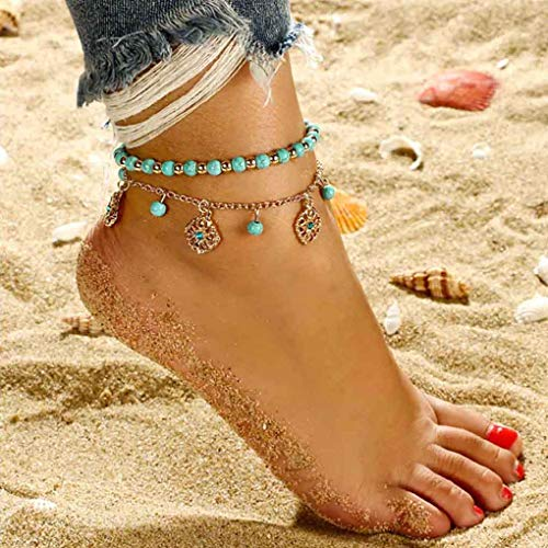 Yalice Boho Turquoise Anklets Layered Gold Disc Ankle Bracelet Beach Foot Chain for Women and Girls