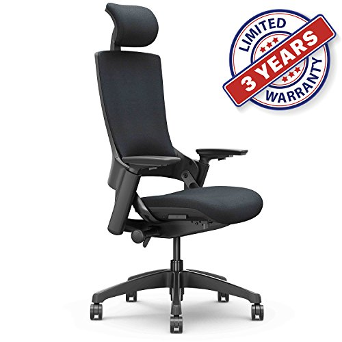 Ergonomic High Swivel Executive Chair with Adjustable Height, Head, 3D Arm Rest, Lumbar Support and Upholstered Back for Home Office (Black)