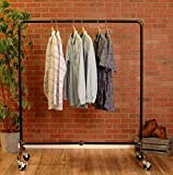 Industrial Pipe Rolling Clothing Rack by William Robert's Vintage