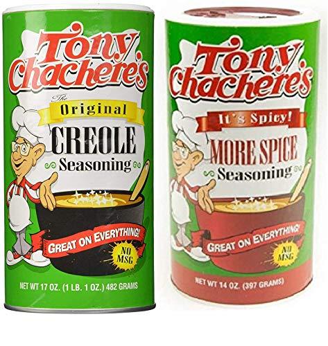 Tony Chachere's No MSG Cajun Creole Seasoning Bundle - 1 each of Tony's Original Creole Seasoning 17 Ounces and Tony's More Spice Seasoning 14 Ounces