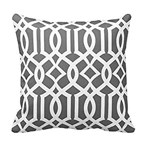 Chic Dark Gray And White Moroccan Trellis Pattern Pillows Decorative Pillow Cover 16 X 16inch Cushion Cover