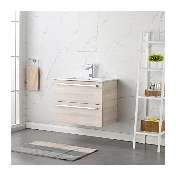 RESSORTIR Modern bathroom vanity 30 inch Danube oak - Size: 23. 2 in. W x 17. 7 in. D x 32. 5 Faucet and pop up drain not include Constructed in Laminate composite wood with PVC doors - bathroom-vanities, bathroom-fixtures-hardware, bathroom - 51r2e37tfXL. SS570  -