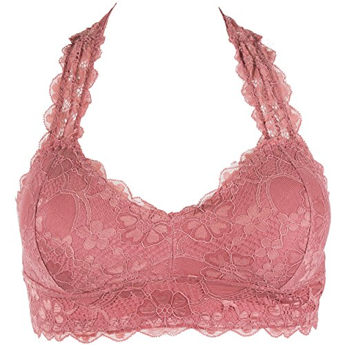 Floral Racerback Bralette Top Sheer Bustier Wlreless Removable Pads Breathable Bra(Rose, M)