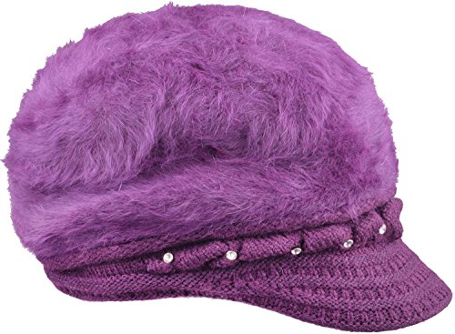 [Winter Brimmed Beanie Cap Warm Fluffy Rabbit Womens Fur Hats With Visor Purple] (Purple Hats For Sale)