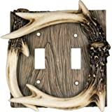 Rivers Edge Products Deer Antler Double Switch Electrical Plate CVR New