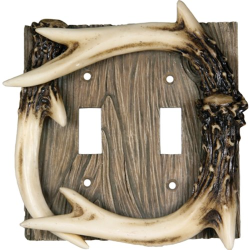 River's Edge Products Deer Antler Double Switch Electrical Plate CVR