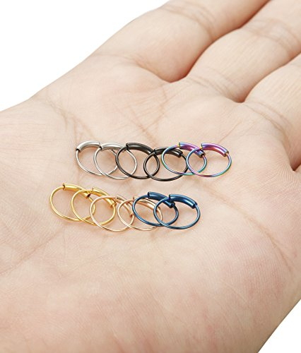 FUNRUN JEWELRY 6Pairs Stainless Steel Hoop Nose Rings Set for Women Men Eyebrow Tragus Lip Ear Ring BCR Body Piercing 22G 8MM Photo #5