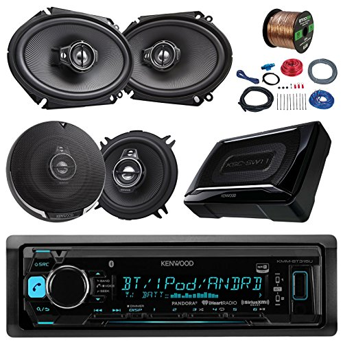 Kenwood KMMBT315U Bluetooth AM/FM Car Stereo Receiver Bundle Combo With 2x 6x8