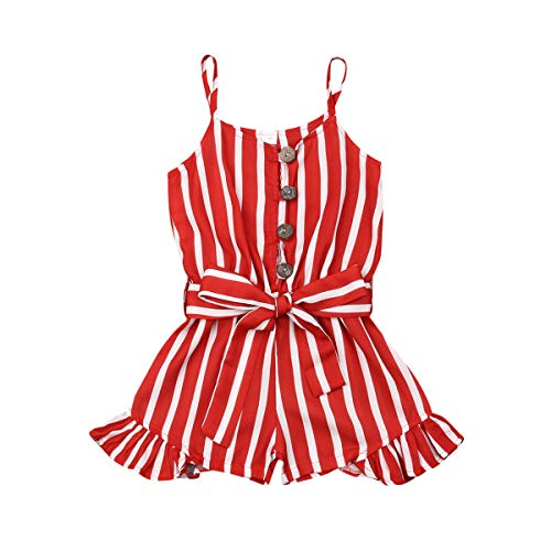 Baby Kid Girls Summer Sleeveless Jumpsuit Halter Stripe Romper Bodysuit with Bowknot Outfits 3-8Y (4-5Y, Red)